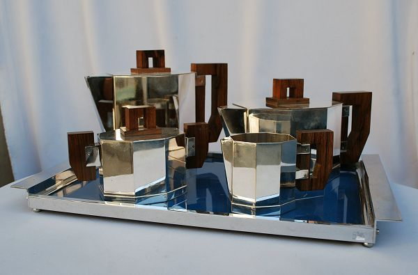 Silver plated hard to find art deco cubist tea set coffee set