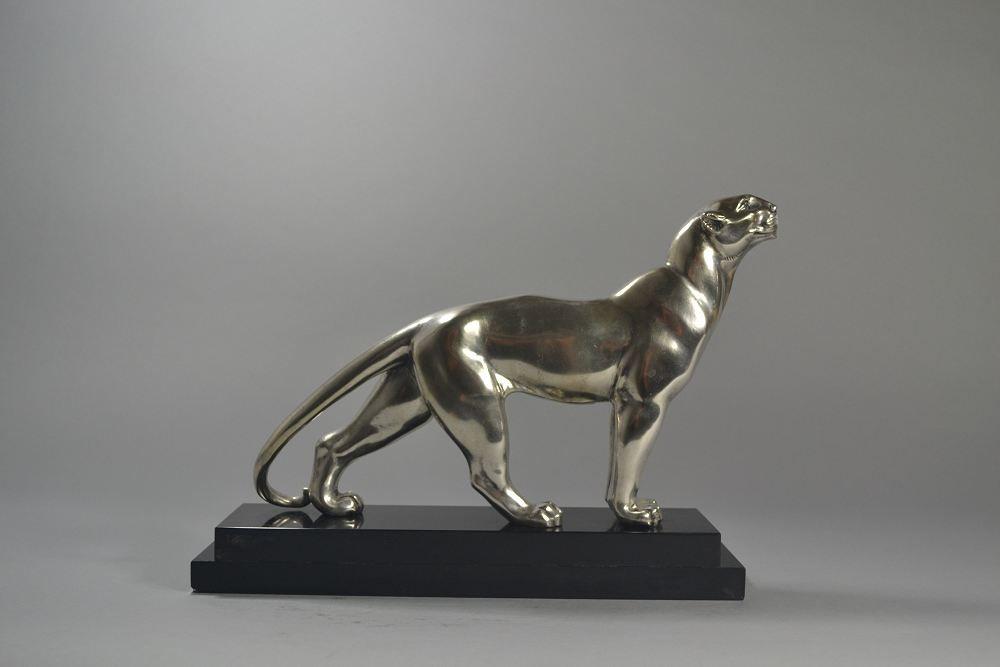 Bronze art deco panther. A. Soleau