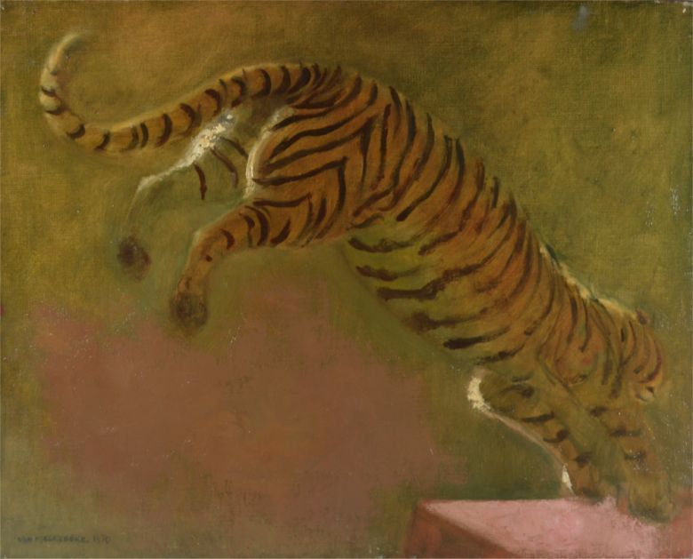 Circus tiger jump. Oil on canvas. Jacques Van Melkebeke (1904-1983)