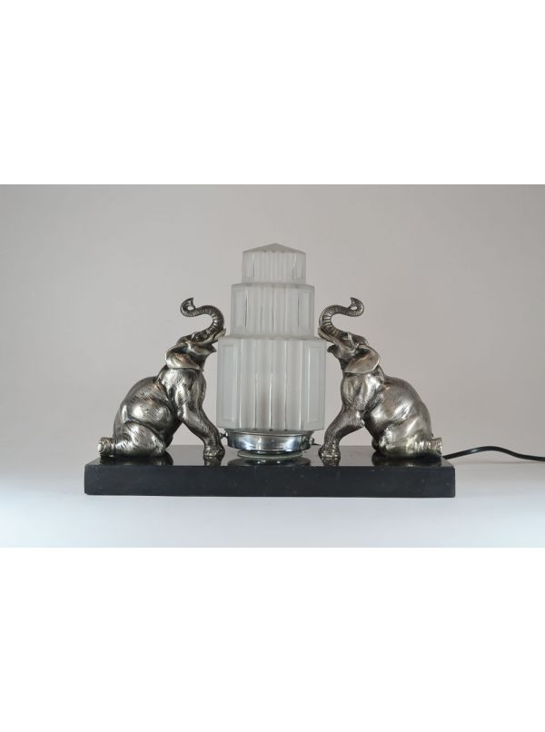 1930 Fr Art Deco Bronze Elephant Lamp Art Deco