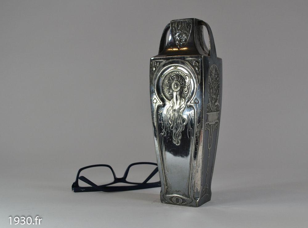 1930 Art Nouveau Silver Plated Vase Mucha Inspiration Art Deco