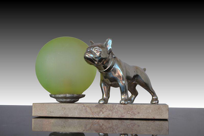 1930 Fr Art Deco French Bulldog Lamp, French Bulldog Lamp