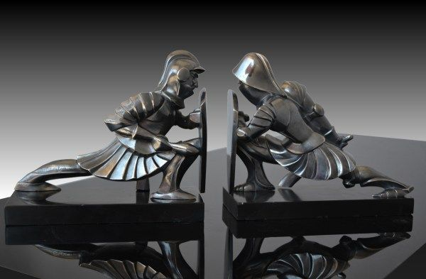 1930 Fr Noel Coulon Cubist Knights Bookends Art Deco