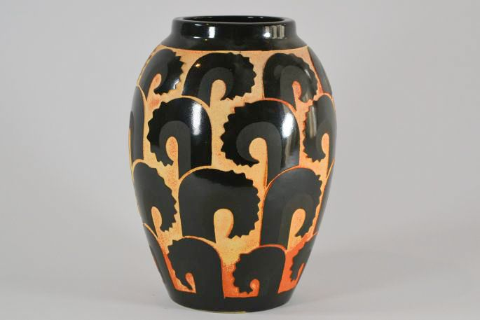 1930 Fr Roger Mequinion Black Vase Geometric Ferns