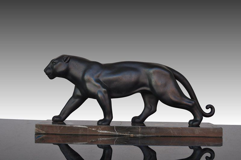 1930 Fr Large Art Deco Metal Panther Sculpture Art Deco