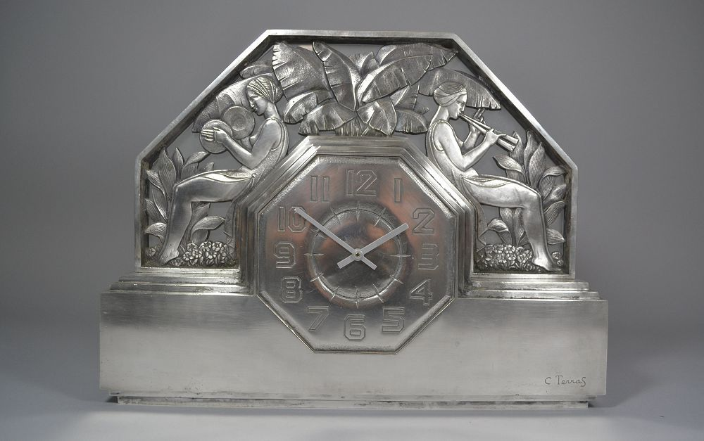 1930.fr c. terras stunning art deco bronze clock art deco