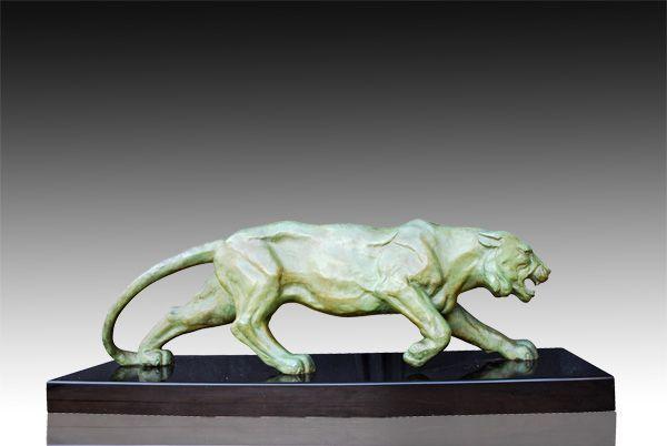 1930 Fr Ruchot Art Deco Tiger Art Deco Sculptures Bronze Clocks Vases