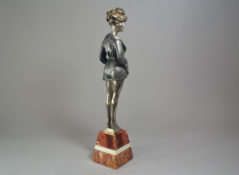 Pretty Lady Art Deco Bronze Sculpture Antiques Periods & Styles Maurice Milliere