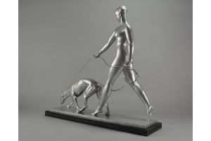 Iconic large Leon Rivoire bronze sculpture of a lady with greyhound