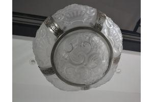 Art deco 6 glass parts chandelier. Bronze fixture