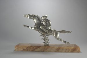 Casimir BRAU rare silver plated bronze sculpture. Riding native.