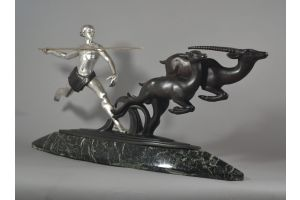 A. Kelety, impressive bronze figural group