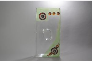 A. RIECKE. Modernist cubist glass vase 1939 #15