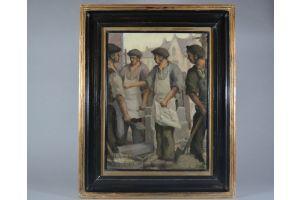 Francois Van Stichel. Oil on canvas. The bricklayers. 1946