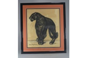 Jean Royer (1903-1981) walking Panther painting