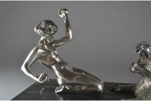 Desiree GRISARD rare bronze of a lady playing with a faun