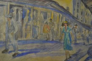 #1. Alexander BARKOFF. (Russian 1870-1942) Athens street view 1936