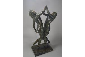 Jaume Martrus Riera tall art deco bronze sculpture. 2 ladies.