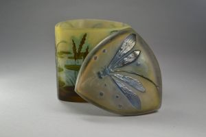 Emile Galle rare triangular box with dragon fly