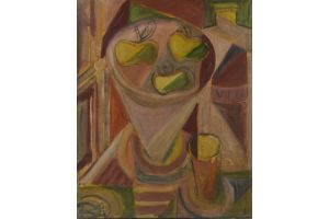 Elisabeth Ronget. Wine bottle and apples oil on canvas painting