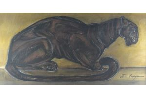 Jean Royer (1903-1981) Crouching Panther painting