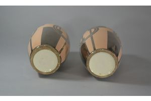 Odyv art deco ceramic vase pair cubist