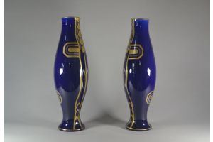 Art deco tall vase pair. Gustave Asch for Saint Radegonde