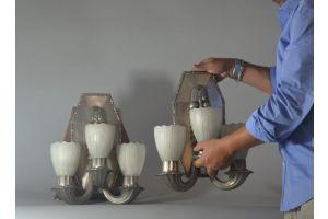 Impressive art deco bronze and alabaster sconce pair