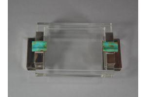 Lacloche ? Art deco modernist ashtray. Gold, sterling silver, agate.
