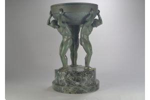 Large art deco bronze sculpture center piece with 3 men. Guiraud Riviere