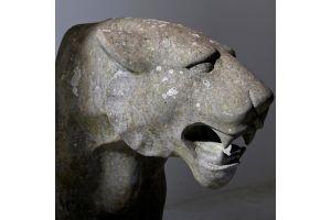 Architectural Life size art deco stone jaguar / panther.