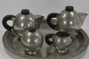 R. Delavan dinanderie pewter art deco coffee tea set