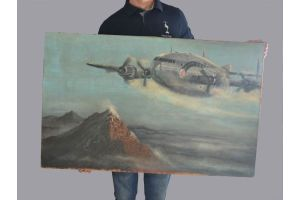 Air France Constellation (?) airplane. Large oil painting on Canvas.