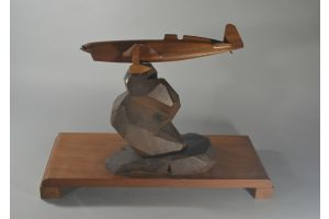 Large art deco wood model sculpture with a plane
