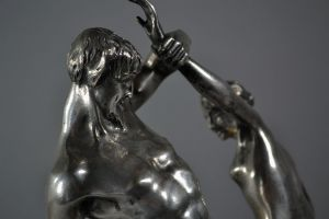 Ch. Ed. Richefeu bronze group. Faun bacchanal dance.