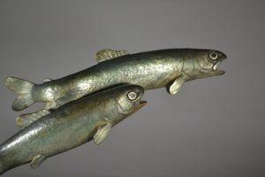 Vincent Becquerel rare bronze group. The Trouts.