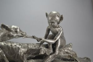Ary Bitter. Faun and deer on a tree trunk bronze group. 1925