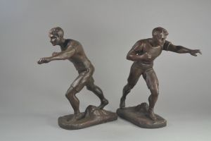 H. Fugere. c.1930 pair of boxer figures