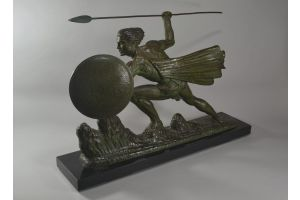 Impressive Art deco figure of a warrior. Often attributed to bouraine.