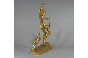 Marcel Bouraine. Bronze Diana with fauns. Tall version.