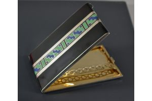Art deco enamel and lacquer cigarette box french sterling silver