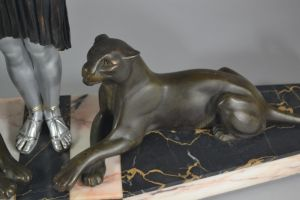 Carvin. Large art deco group. Panther Tamer.