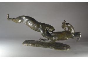 Francine CARTIER art deco group. Panther and antelope.