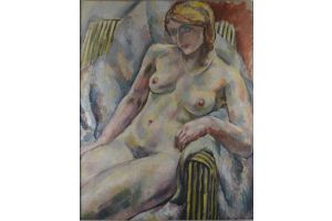 Augustin Carrera (1878-1952) large oil painting on canvas. Nude lady in an armchair.