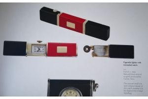 CARTIER 1930 art deco sterling and lacquer concealed watch lighter
