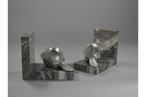 Art deco bookends with beavers