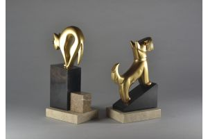 Rare bookends pair with cubist art deco dog and cat