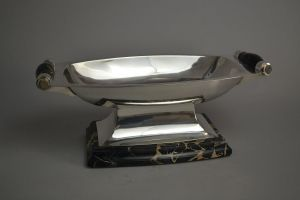 Silver and portor marble art deco center piece. Saglier