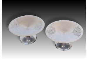 Art deco silver plated center piece pair