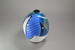 Camille Faure Enamel on metal cubist vase. Rare size and shape.